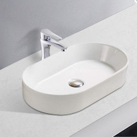 525x300x115mm Oval Gloss White Ceramic Above Counter Wash Basin Ultra Slim