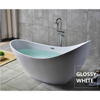 2000x800x1060mm Posh Oval Bathtub Freestanding Acrylic GLOSSY White Bath tub With Overflow
