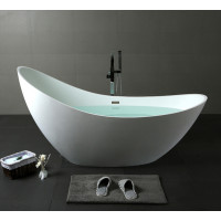 1490x710x830mm Posh Oval Matt White Freestanding Special Shape Bathtub Acrylic with Overflow