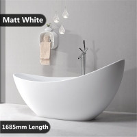1685x770x1000mm Posh Oval Bathtub Freestanding Acrylic MATT White Bath tub NO Overflow