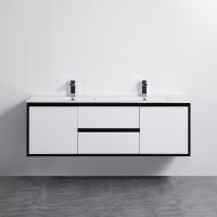 1200mm Wall Hung PVC Vanity Matt Black & White Single / Double Bowls Cabinet ONLY for Bathroom