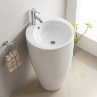 550x515x850mm Bathroom Round Gloss White Freestanding Ceramic Basin Floor Wash Basin