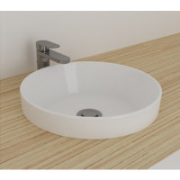 400x400x110mm Bathroom Round Gloss White Ceramic Inset Basin