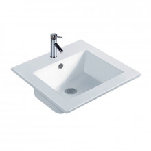 410x410x175mm Inset Basin Square Gloss White Ceramic One Tap Hole