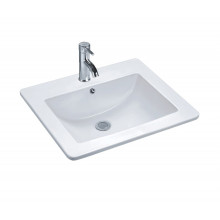 545x475x180mm Inset Basin Square Gloss White Ceramic One Tap Hole