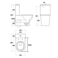 680x395x845mm Pola Ceramic White Box Rim Back To Wall Toilet Suite