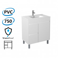 750x460x880mm Bathroom PVC Vanity Freestanding White Polyurethane Left Side Drawers Cabinet ONLY & Ceramic/Poly Top Available