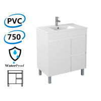 750x460x880mm Bathroom Vanity White Polyurethane PVC Freestanding Right Side Drawers Cabinet ONLY & Ceramic/Poly Top Available