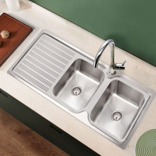 Eden 1180x480x170mm Stainless Steel Kitchen Sink Double Bowls Left Right Available