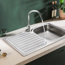 Eden 780x480x170mm Stainless Steel Kitchen Sink Left Right Single Bowl Available Drainer Board