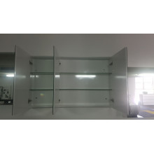 1200Lx750Hx155Dmm Pencil Edge White Shaving Cabinet With Mirror PVC Polyurethane White Tempered Glass Shelves