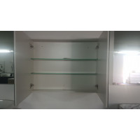 900Lx750Hx155Dmm Pencil Edge Gloss White Shaving Cabinet With Mirror PVC Polyurethane Tempered Glass Shelves