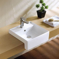 410x410x140mm Square Gloss White Semi Recessed Ceramic Basin One Tap Hole
