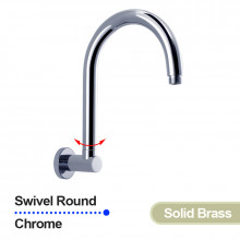 Swivel Round Curved Wall Mounted Shower Arm Chrome