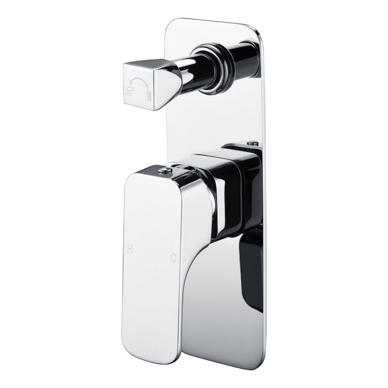 Chrome Soft Square Brass Wall Mounted Mixer with Diverter PSL3002