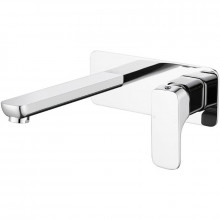 Eden Chrome Soft Square Brass Wall Mounted Mixer with Spout for Bathtub and Basin