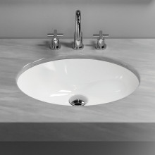 340x340x190mm Gloss White Round Undermount Ceramic Basin with Overflow for bathroom and vanity