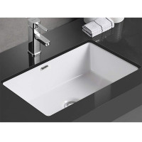 545x380x180mm Rectangle Gloss White Under Mount Ceramic Basin Under Counter