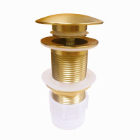 32/40mm Brushed Yellow Gold Mushroom Solid Brass Basin Pop Up Waste NO Overflow