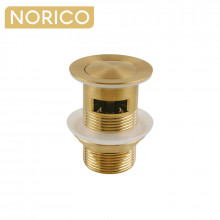 Norico 32/40mm Brushed Yellow Gold Solid Brass Basin Pop Up Waste with Overflow