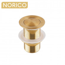 Norico 32/40mm Brushed Yellow Gold Solid Brass Basin Pop Up Waste NO Overflow