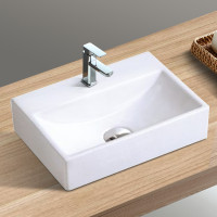 330x290x120mm Gloss White Rectangle Above Counter Wall Hung Ceramic Basin with Tap Hole Included for bathroom and vanity