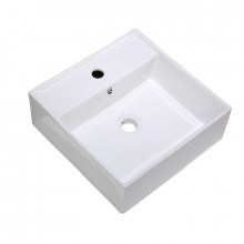 375x375x130mm Above Counter/Wall-hung Square White Ceramic Basin One Tap Hole