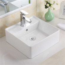 410x410x150mm Above Counter/Wall-hung Square White Ceramic Basin One Tap Hole