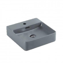 420x420x120mm Above Counter / Wall Hung Square Matt Grey Ceramic Basin with Tap Hole