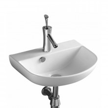 440x360x180mm Bathroom Wall Hung Gloss White Ceramic Wash Basin with Tap Hole