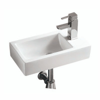 455x250x120mm Rectangle Gloss White Wall Hung Ceramic Left Hand Basin With Tap Hole