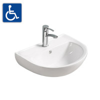 550x440x140mm Bathroom Wall Hung Gloss White Ceramic Basin One Tap Hole