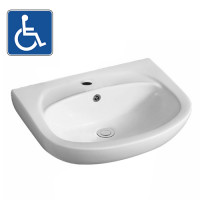 550x425x160mm Bathroom Wall Hung Gloss White Ceramic Basin One Tap Hole