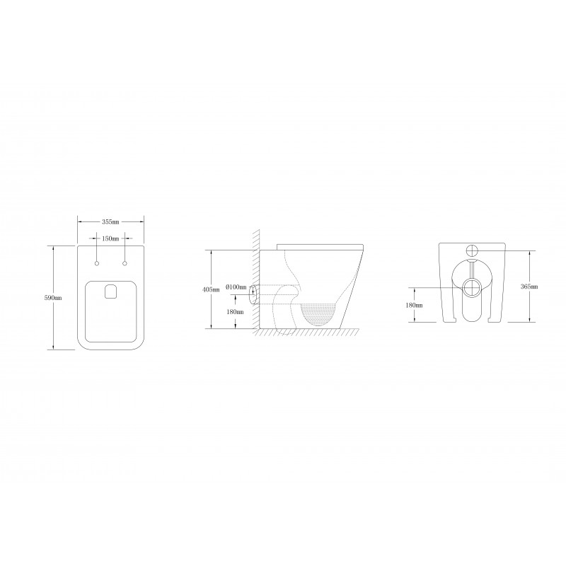 Qubist Wall Faced Pan 590*355*405mm Box Rim Flushing Wall Faced Floor Toilet Pan WELS WATERMARK Dual Flush