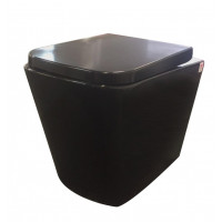 590x355x405mm Qubist Black Wall Faced Pan Box Rim Flushing Wall Floor Toilet Pan WELS WATERMARK Dual Flush