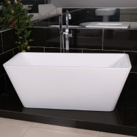 1400x702x590mm Qubist Square Bathtub Freestanding Acrylic Gloss White Bath tub No Overflow