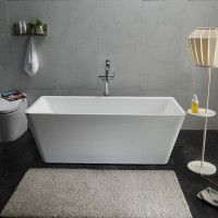 1498x705x580mm Qubist Square Bathtub Freestanding Acrylic Gloss White Bath tub NO Overflow