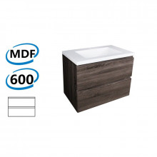 600x450x550mm Wall Hung Bathroom Floating Vanity DARK Grey Wood Grain PVC Vacuum Filmed Cabinet ONLY& Ceramic/Poly Top Available