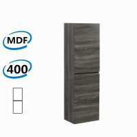 400x300x1350mm Wall Hung Bathroom Vanity Tall Boy Dark Grey Wood Grain PVC Vacuum Filmed MDF Board