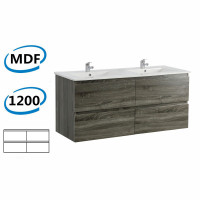 1200x450x550mm Dark Grey Wall Hung Vanity Cabinet with Four Drawers Only and Optional Ceramic Top for bathroom and kitchen