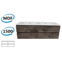1500x450x550mm Wall Hung Bathroom Floating Vanity Dark Grey Wood Grain PVC Filmed 4 Drawers Cabinet ONLY&Double Bowls Ceramic Top Available
