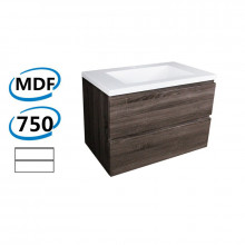 750x450x550mm Wall Hung Bathroom Floating Vanity DARK Grey Wood Grain PVC Vacuum Filmed Cabinet ONLY&Ceramic/Poly Top Available