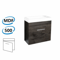 500x250x520mm Wall Hung Bathroom Floating Vanity with Ceramic Top DARK GREY Wood Grain One Tap Hole