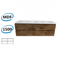 1500x450x550mm Wall Hung Bathroom Floating Vanity Dark Oak Wood Grain PVC Filmed 4 Drawers Cabinet ONLY&Double Bowls Ceramic Top Available