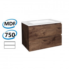 750x450x550mm Wall Hung Bathroom Floating Vanity Dark Oak Wood Grain PVC Vacuum Filmed Double Drawers Cabinet ONLY&Ceramic/Poly Top Available