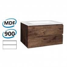 900x450x550mm Wall Hung Bathroom Floating Vanity Dark Oak Wood Grain PVC Vacuum Filmed Double Drawers Cabinet ONLY&Ceramic/Poly Top Available