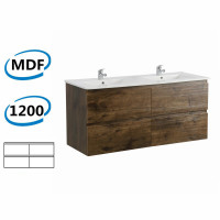 1200x450x550mm Dark Oak Wall Hung Vanity Cabinet with Four Drawers Only and Optional Ceramic Top for bathroom and kitchen