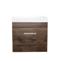 500x250x520mm Wall Hung Bathroom Floating Vanity with Ceramic Top DARK Oak Wood Grain One Tap Hole