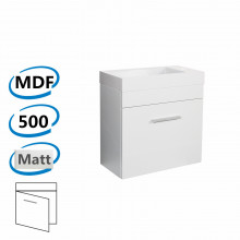 500x250x520mm Wall Hung Bathroom Floating Vanity with Ceramic Top MATT WHITE One Tap Hole