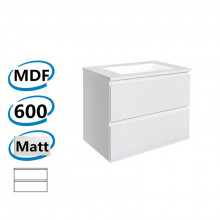 600x450x550mm Wall Hung Bathroom Floating Vanity MATT WHITE PVC Vacuum Filmed Double Drawers Cabinet ONLY&Ceramic/Poly Top Available
